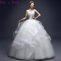 Customized Lace with Crystal Wedding Dresses Strapless Tiered Floor-length Wedding Gowns Formal
