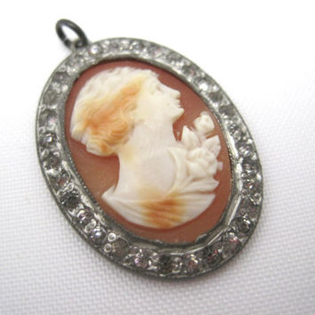 Cameo Pendant - Carved Shell with Paste Stones