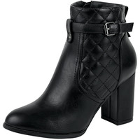Womens Ankle Boots Sleek Quilted Ankle Strap Chunky High Heel Shoes Black SZ