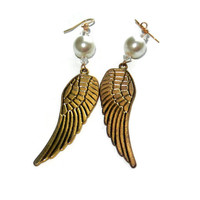 Gold Angel Wing and Pearl Dangle Earrings
