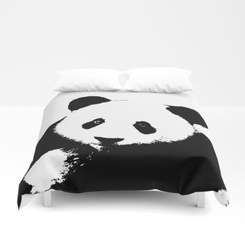 Giant Panda in Black & White Duvet Cover by Digital Effects