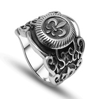 Fashionale cool shining cross stainless steel ring