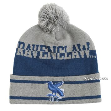 Licensed cool Harry Potter & Deathly Hallows Ravenclaw Pom Watchman Beanie Stocking Cap Hat