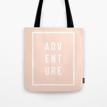 ADVENTURE in Peach Tote Bag by Inspire Your Art
