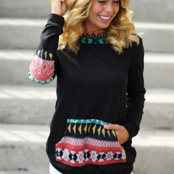 Black Hoodie With Tribal Print Detail