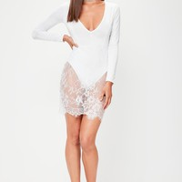 Missguided - White Slinky Lace Bodycon Dress