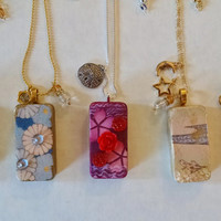 Domino Necklaces, Altered Domino, Altered Art Domino, Altered Art Jewelry, Recycled Domino, Upcycled Domino, Domino Jewelry, Domino Necklace