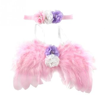 New Infant Newborn Baby Kids Angel Fairy Feather Wing Costume Photo Prop for Children\'s Day Gift Present Party Supplies