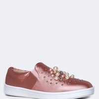 Low Heel Beaded Sneakers