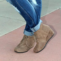 Patty Wedge Booties - Taupe