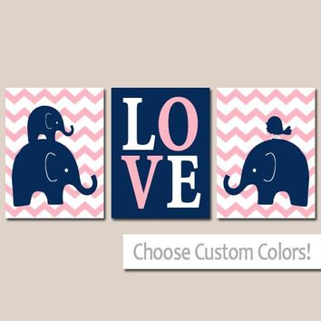 Girl ELEPHANT Nursery Wall Art, Canvas or Prints, Baby Girl Elephant Decor, Twin Bedroom Decor, Navy Pink Elephant Pictures Set of 3