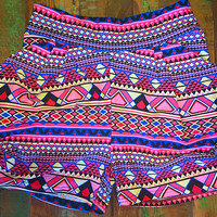 A Day At The Carnival Print Super Soft Harem Short with Pockets