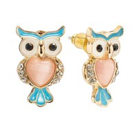 LC Lauren Conrad Gold Tone Simulated Crystal Owl Stud Earrings (White/Black/Gold)