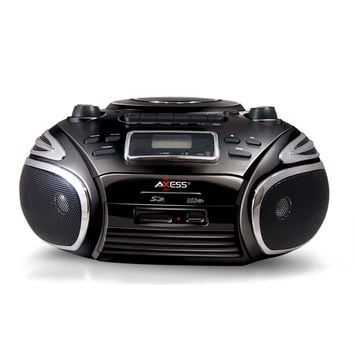 Axess Portable AM/FM Radio, CD/MP3 Player, USB/SD & Cassette Recorder Boombox