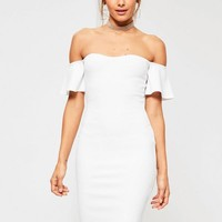 Missguided - White Bardot Bodycon Midi Dress