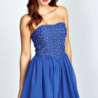 Rachelle Blue Bandeau Prom Dress