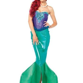 2pc.deep Sea Sirensequin Bustier And M? Fin Skirt W/tulle Accent Small Green/purple