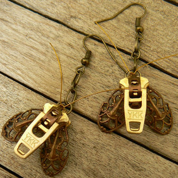 Steampunk Earrings - Zipper Earrings - Moth Earrings - Dangle Earrings