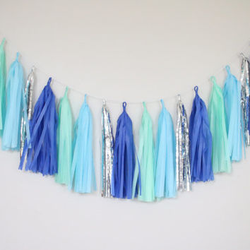 Mermaid Blue and Mint Green Tassel Garland - Mint Green Tassel Garland