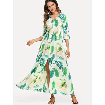 Multicolor V-Neck 3/4 Sleeve Tropical Maxi Dress