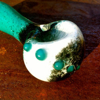 Cool Turquoise Black and White Glass Pipe