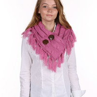 Pink Cable Knit Single Wrap Button Scarf