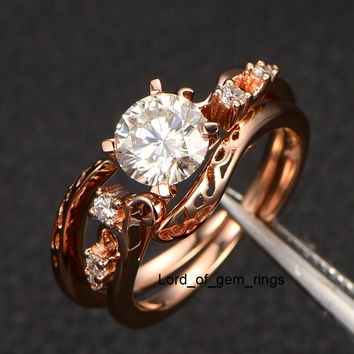 6.5mm Round Moissanite with Diamond Engagement Ring in 14K Rose Gold -  VS Diamonds, Bridal Promise ring