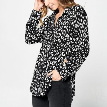 Lincoln Leopard Button Down Top