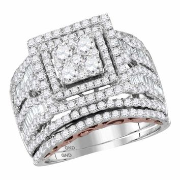 14kt Two-tone Gold Womens Round Diamond Bridal Wedding Engagement Ring Band Set 2-3/8 Cttw