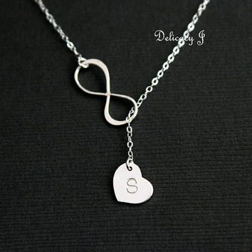 Infinity lariat necklace initial heart necklace, Personalized initial necklace, Infinity and heart necklace, Mother bridesmaid gifts