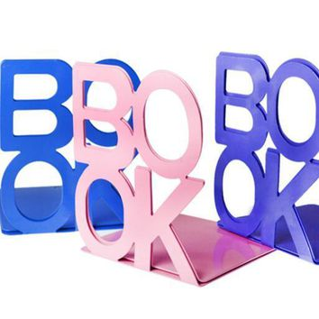 "1 pair Fashion 'BOOK""  Tablet Tablature Bookend Metal Book Stand Book Support Holder Desk Stands For Books"
