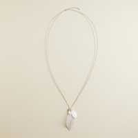 Silver Leaf and Charm Pendant Necklace - World Market
