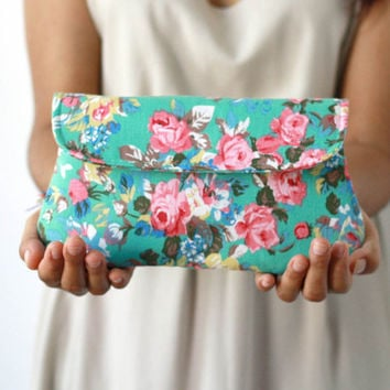 Floral clutch, turquoise green clutch purse, bridesmaid gift, bridesmaid clutch, garden wedding