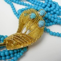 "Vintage Turquoise Blue Beaded 8-Strand 18"" Necklace, Goldtone Decorative Flower Focal Piece with Snap Closure, Torsade Lily Wedding Bride"