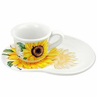Spigarelli Designer Kitchen & Dining Sunflower Decorated Ceramic Mug and Tray