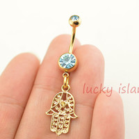 belly button jewelry, Hamsa Hand Belly Button Ring ,gold Belly Jewelry,friendship bellyring,bff gift