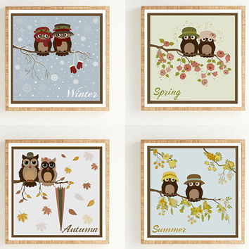 Owls in four seasons Seasons print Seasons decor Cardinal seasons Owls on a branch Owl decor Owl nursery Owl digital clipart Baby decor