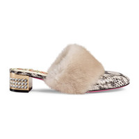 Gucci Snakeskin slide with mink fur