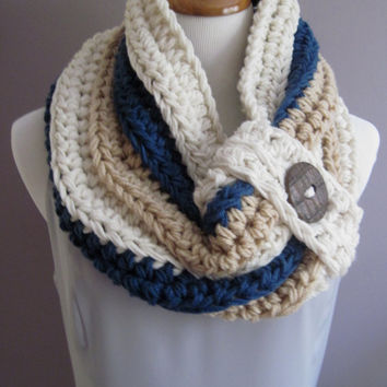 Chunky Bulky Button Crochet Cowl: Off White, Windsor Blue, Light Camel Tan with Brown Button