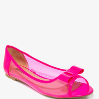 FOREVER 21 Standout Peep Toe Jelly Flats Neon