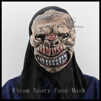 Funny Clown Skull Mask Horror Halloween Masks For Women Men Eyeball Devil Party Wrapped head Scary Mask Long Black Hair Toys
