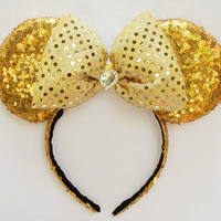 Minnie Mouse Ears Beauty and the Beast Ears Gold Sequin Disney Ears Minnie Mouse Bow Minnie Ears Minnie Bow Mickey Mouse Ears Mickey Ears