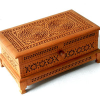 Antique Pierced Carved Wooden Jewelry Box with Purple Velvet Lining