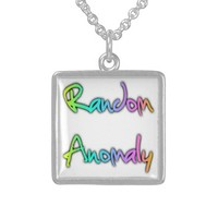 Random Anomaly Rainbow Square Pendant Necklace