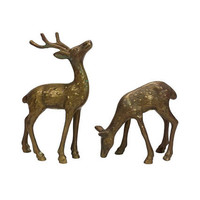 Brass Deer Figurines Pair Buck Doe Vintage Animal Set Antlers Mantle Home Office Bookshelf Decor Statuette Christmas Spotted Woodland Patina