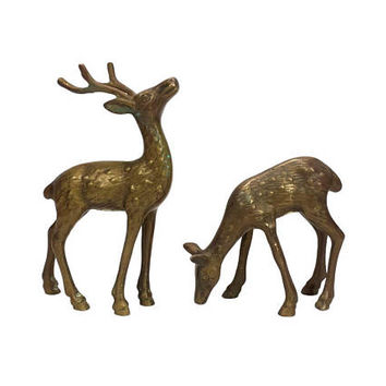 Brass Deer Figurines Pair Buck Doe Vintage Animal Set Antlers Mantle Home  Office Bookshelf Decor Statuette