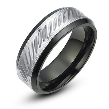 Stainless Steel Oval and Milgrain Pattern Ring