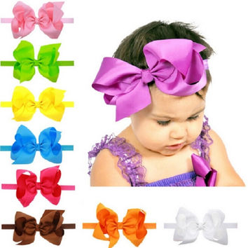 Baby girl big bows hair accessories Infant baby headband Elastic hair bands Ribbon bows Baby girl headbands 1pc HB145