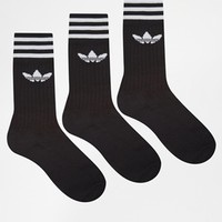 Adidas Solid Crew 3 Pack Socks