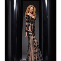 Black & Nude Long Sleeve Intricate Applique Dress
